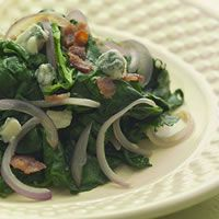 Sautéed Spinach with Red Onion, Bacon, and Blue Cheese