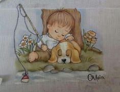 Boy Fishing, Precious Moments, Fabric Painting, Little Boys, Diy And Crafts, Baby Boy, Teddy Bear, Clip Art, Drawings