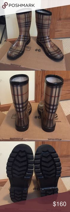 Short Burberry rain boots size 36 (6) 100% authentic short Burberry rain boots size 36. Would best fit a 5 1/2 or true 6. Mint condition! I'm obsessed with these but only selling because they are a bit too snug on me. Will sell $130 on ven-mo so comment if you have any inquiries! Burberry Shoes Winter & Rain Boots