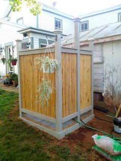 Outdoor shower with Cali Bamboo natural fencing