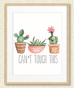 Green Cactus 'Can't Touch This' Print