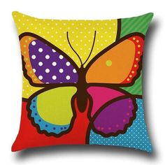 Cotton Linen Throw Pillowcase Cushion Cover Butterfly Pattern Home Decor