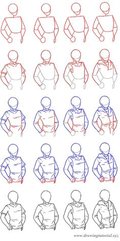 how to draw clothing - how to draw a man or a woman wearing a t-shirt, a top or a hoodie - step by step tutorial - drawing reference