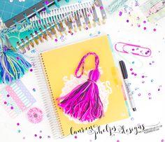 SPRING >>> Spring Diva JUMBO yarn tassel for Erin Condren, Plum Paper, Happy Planner, InkWell Press, Day Designer, LimeLife, & others by LaurenPhelpsDesigns on Etsy