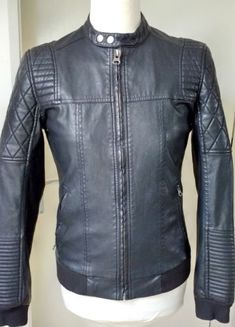 0a08f3642d River Island Black Faux Leather Biker Racer Jacket Men's Mans Size S | eBay