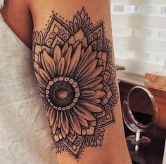 Collection of hippie tattoo images in collection) Sunflower Mandala Tattoo, Sunflower Tattoos, Sunflower Tattoo Design, Colorful Mandala Tattoo, Sunflower Tattoo Meaning, Sunflower Tattoo Sleeve, Mandala Flower Tattoos, Neue Tattoos, Body Art Tattoos