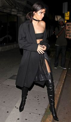 The KarJenner Guide to Over-the-Knee Boots - Kendall Jenner in a black duster coat and black leather boots