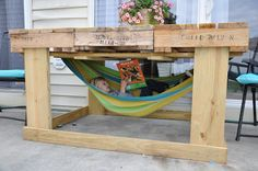 another pallet project {outdoor table from pallets for about $40} with a bonus hammock!