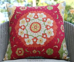 Handmade Decorative Multi-Color Throw Pillow Red Green Blue Orange Yellow - Pillow Cover 20 x 20 by TheCowPelt
