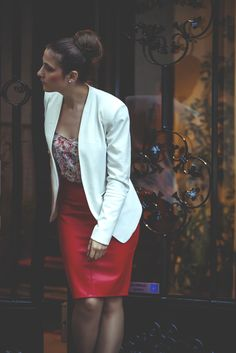 Red leather skirt + White elegant blazer. Do you like the outfit? Check my blog for the post :)