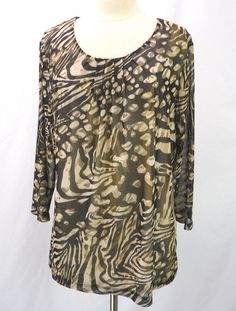 CHICOS Easywear Double Mesh Leopard Animal Print Scoop Neck Tee Top 3 L XL #Chicos #KnitTop