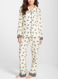 Sock monkey printed pajamas so cute, she can't resist.