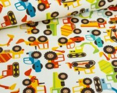 Cotton Fabric Building Cars - Orange, Red, Teal, Yellow, Green - Yard, Fat Quarter