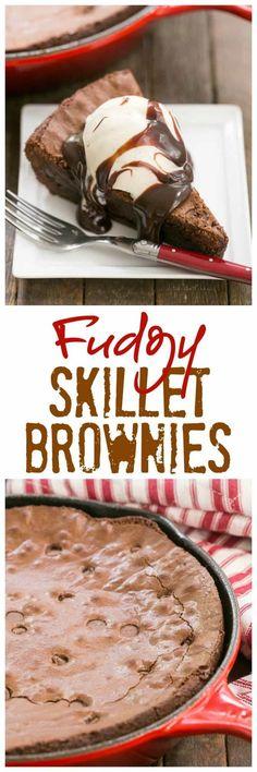 Fudgy Skillet Brownies | One bowl, one pan, one decadent dessert! #brownies #fudgy #skillet #easyrecipe