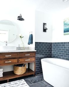 Image result for blue metro tile bathroom ideas
