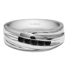 10k White Gold Twist Style Men's Wedding Ring or Fashion Ring With Black Diamonds (0.25 Cts.) (10k Two Tone Gold, Size 5.5), Two-Tone (solid)