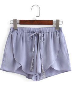 Shorts casual suelto asimétrico gris 15.02€