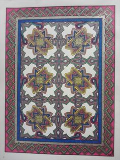 from Decorative Tile Designs coloring book, Dover Pub. Metallic & sparkly gel pens. ADH 2012