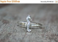 INDEPENDENCE DAY SALE Seahorse Sea Horse Rin, Sterling silver, silver ring, Stacker stacking stackable stack ring, Delicate Simple Dainty ri