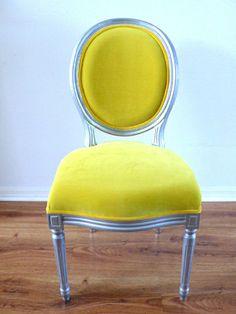 Antique Armless Silver Louis Yellow Velvet Chair by metrosofa, $599.00