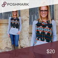 Aztec, Cowl Neck Pullover You'll fall in love with this super soft, super trendy top!  This pull over sweater features a tribal print with contrasting, grey, fleece sleeves, cowl neck and front pocket.  The perfect, casual pullover!  Fits true to size.  No trades! Bundle to save! Tops Sweatshirts & Hoodies