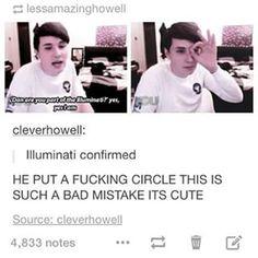 Correction: holding a circle around your eye with three fingers pointing out is a sign lmao Daniel James Howell, Dan Howell, Phil 3, Dan And Phil, Phan Tumblr, Phan Memes, Danisnotonfire And Amazingphil, Tyler Oakley, Phil Lester