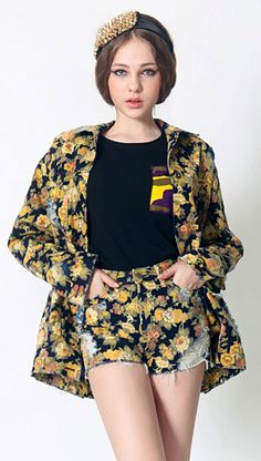 Rose Set with Denim Jacket & Shorts all in one pattern. | Fall & Winter | Dolly & Molly | www.dollymolly.com | #camouflage #Tee #Vintage #floral #rose #printing #black #mustard #yellow #strong #unique #set #top #bottom #frayed #shorts #elegance
