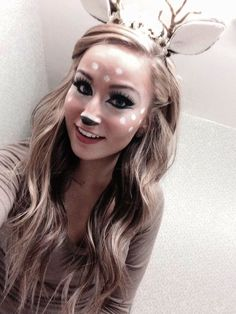 Check Out 21 Deer Halloween Makeup You'll Love. Halloween is juts a few days away! If you are like us, there hasn't been a second to plan your costume and plans are still getting worked out. Deer Costume Makeup, Deer Halloween Makeup, Deer Halloween Costumes, Deer Makeup, Last Minute Halloween Costumes, Halloween Diy, Deer Costume Diy, Pretty Halloween Makeup, Bambi Costume