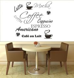 FANTASY DECO VINILOS DECORATIVOS - CAFETERIAS - COFFEE SHOP Mocha Coffee, Coffee Shop, Espresso Cafe, Cafe Interiors, Kitchen Design, Bar, Signs, Furniture, Ideas