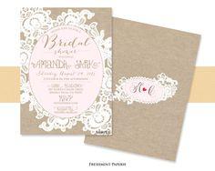 Printable invitations - bridal shower invitation - lace Invitation - calligraphy - burlap invitation - freshmint paperie