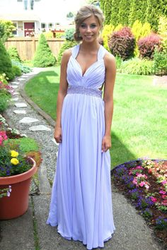 A classic Grecian style formal dress in a gorgeous lavender color.