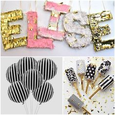 Gold, Frill, Stripes, And confetti. A vibrant and fun party inspiration board!