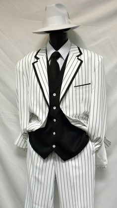 Milano Moda White with Black Vested Zoot Suits Costume 5908V