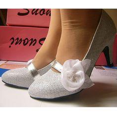 White Comfortable Medium Heel Wedding Bridal Prom Dress Pumps Shoes SKU-1090052