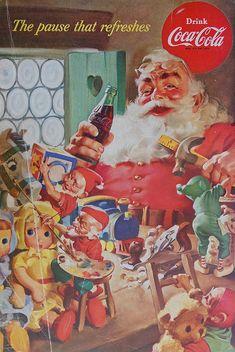 Haddon Sundblom, criador do Papai Noel da Coca-cola Coca Cola Christmas, Noel Christmas, Vintage Christmas Cards, Vintage Cards, Vintage Labels, Vintage Holiday, Retro Christmas, Christmas Posters, Father Christmas