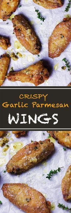 These baked crispy parmesan chicken wings taste like they are fried. With this recipe you get to cut down on the fat and still enjoy all the flavor. little Caesar Parmesan Chicken Wings, Keto Chicken Wings, Garlic Parmesan Wings Fried, Crispy Baked Chicken Wings, Baked Garlic, Plain Chicken Wings Recipe, Crockpot Chicken Wings, Chicken Wing Flavors, Air Fry Chicken Wings