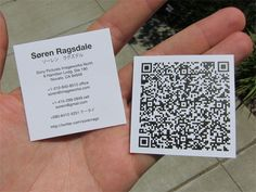 Square cards with QR code. Great Idea!