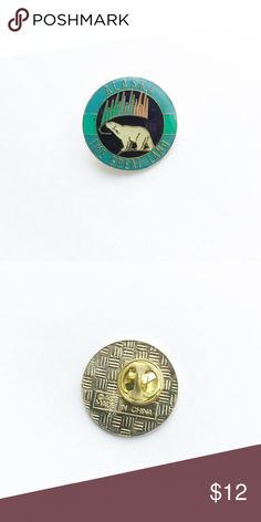 """Vintage Alaska Enamel Pin Vintage Alaska Enamel Pin  • true vintage • 1"""" • colors: white, gold, blue, indigo, green, pink, black  • tags: state love, heart, polar bear, northern lights, aurora borealis, juneau, sitka, unalaska, eskimo, anchorage, yukon, the last frontier, hat, lapel, vest, brooch • all of the pins I sell are vintage and may contain minor nicks, imperfections, or oxidation Vintage Accessories"""