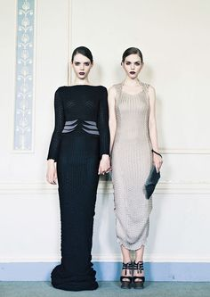 LYONARD women's Knitwear AW 15 Knitted tuck stitch, mulberry silk and full length dress in black/gold