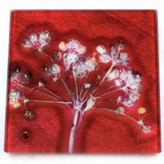 Gillian Arnold Red Joyous Spread Glass Coaster