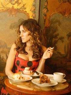 Women and Coffee Through the Years - Vintage Coffe Photos - Marie Claire - Carrie Bradshaw SATC