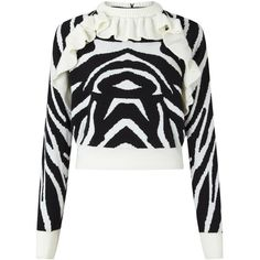 Tiger Jumper Black White ❤ liked on Polyvore featuring tops, sweaters, ruffle neck top, white and black top, merino sweater, black and white jumper and black and white sweater