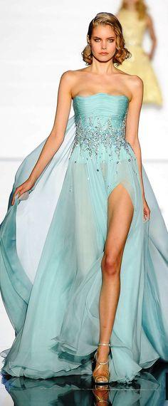 Zuhair Murad ~ Couture Sleeveless Aqua Sequin Gown w Side Slit 2015