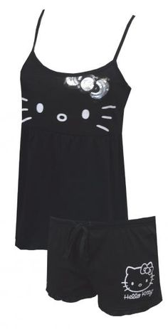 da8d35caa Hello Kitty Bring the Bling Babydoll Shortie PJ Set, adorable pajama with  silver and black bow on top, with spaghetti straps comfy sleep shorts super  cute ...