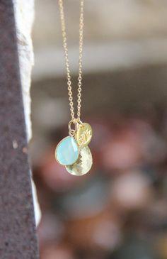 Lemon Citrine and Aqua Chalcedony Necklace, Yoga Lotus Gemstone Necklace, Layering Necklace, Bezeled Aqua Chalcedony and Lemon Citrine Drop