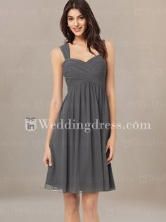 Short Ruched Bridesmaid Dress with Tank Straps BR046 - I want this in blush for the bridesmaids!!