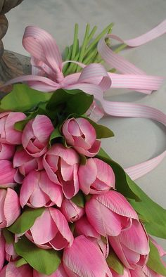 Beautiful bouquet of pink tulips with pink ribbon. Deco Floral, Arte Floral, Pink Tulips, Pink Flowers, My Flower, Beautiful Flowers, Bloom, Color Splash, Floral Arrangements