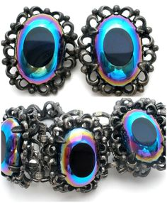 Blue & Purple Carnival Glass Rhinestone Bracelet & Earrings Silver Tone Vintage  | Jewelry & Watches, Vintage & Antique Jewelry, Costume | eBay!