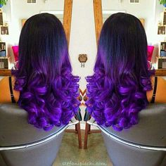 Hair color with purple fading