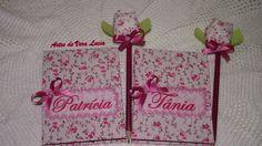 Capa para bloquinho de anotações em cartonagem, personalizada + lápis decorado com tulipa.